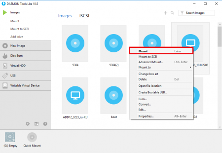 How to mount with DAEMON Tools